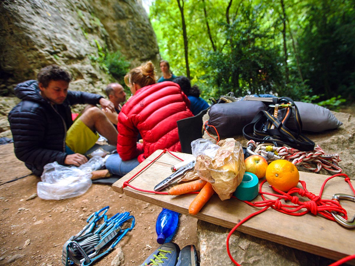 Lunch break on climbing camp at Gorges du Tarn in France