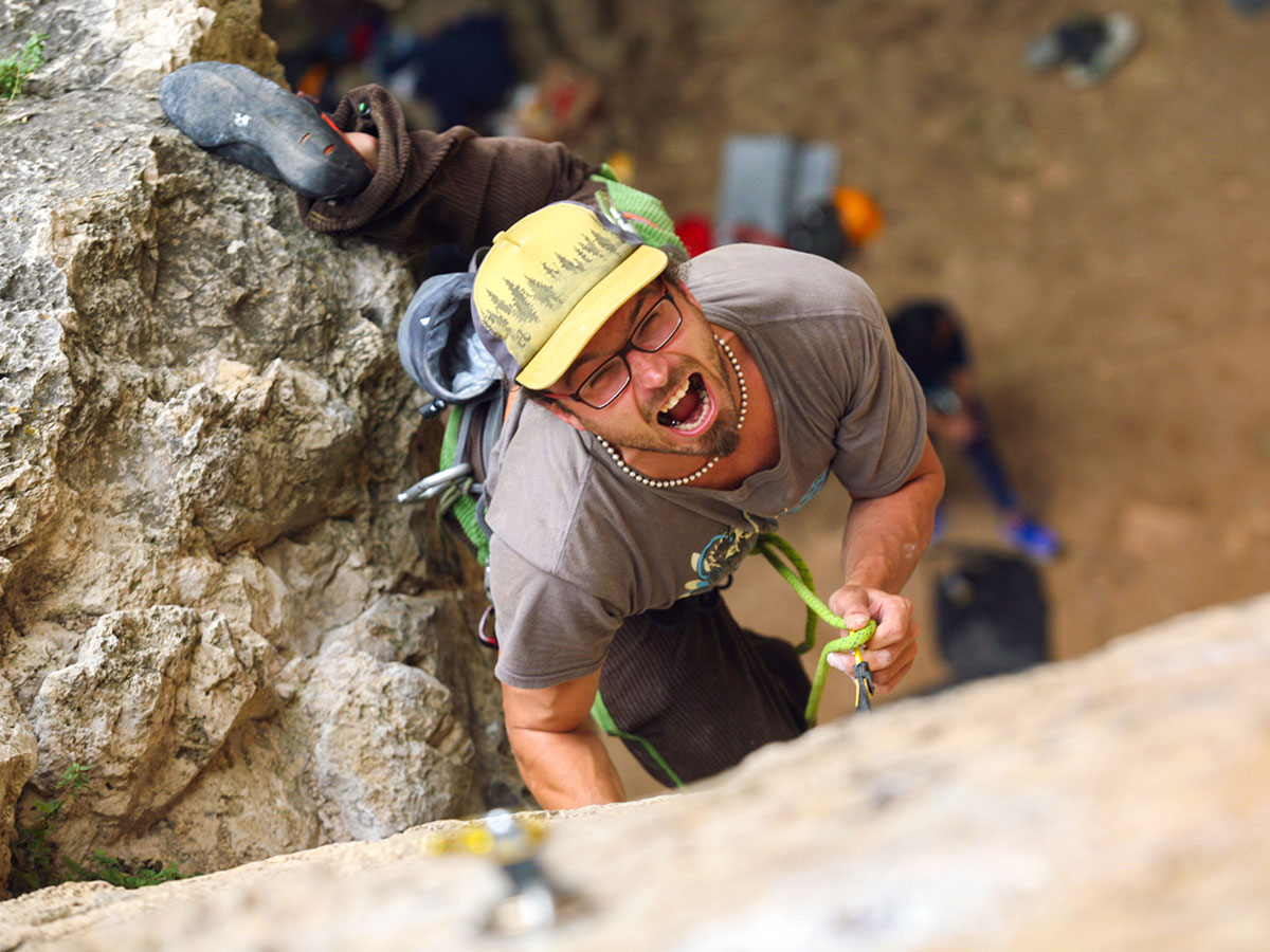 Happy climber on climbing camp at Gorges du Tarn in France