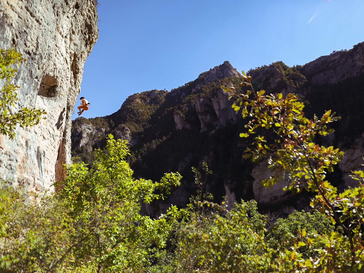 Rock climber on climbing camp at Gorges du Tarn in France