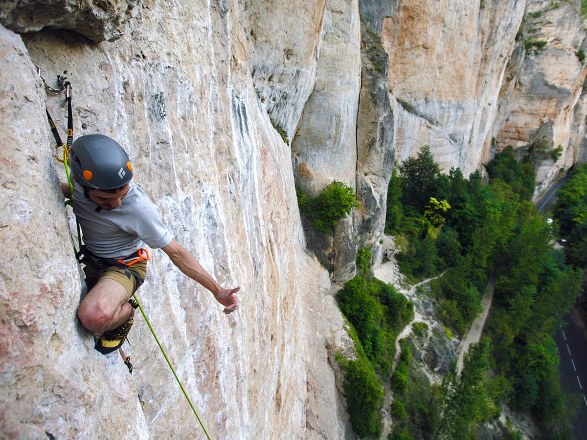 Climber on climbing camp at Gorges du Tarn in France