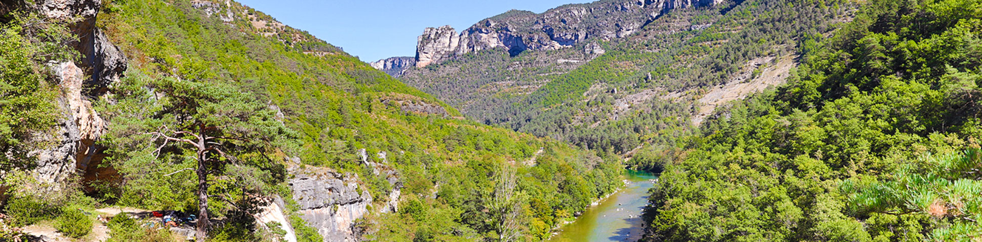 Beautiful valley on rock climbing camp in the Gorges du Tarn, France
