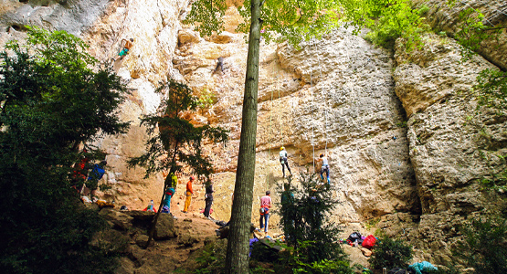 Group of climbers on rock climbing camp in the Gorges du Tarn, France