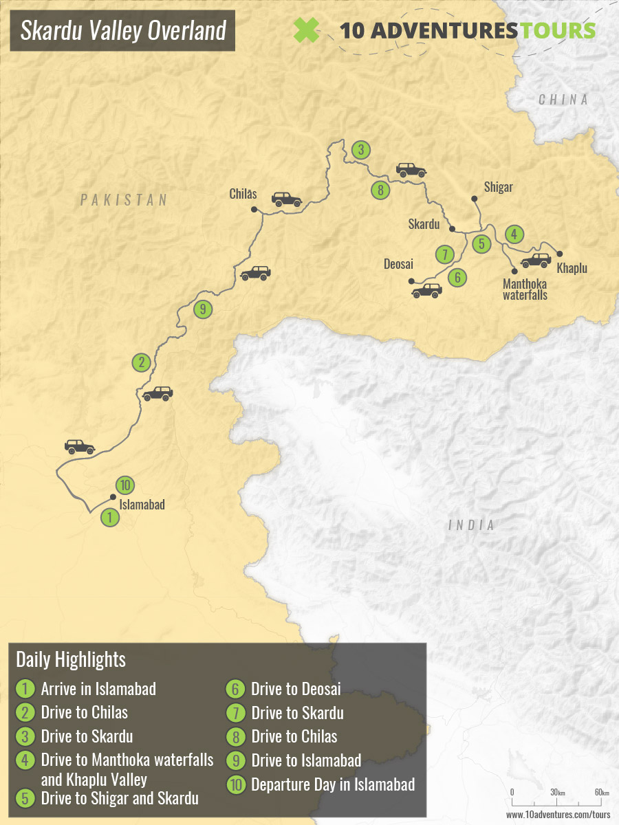 Map of Skardu Valley Overland tour from Islamabad in Pakistan