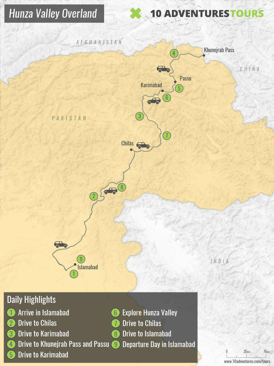 Map of Hunza Valley Overland tour from Islamabad, Pakistan
