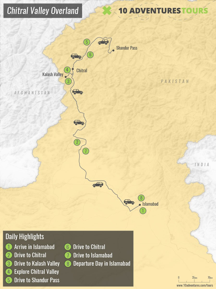 Map of Chitral Valley Overland tour from Islamabad, Pakistan