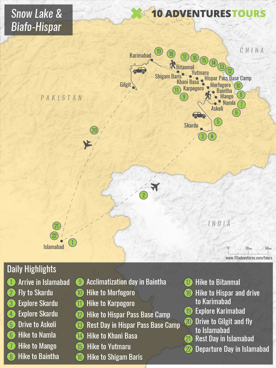 Map of Snow Lake & Biafo-Hispar Guided Trek in Pakistan with a guide