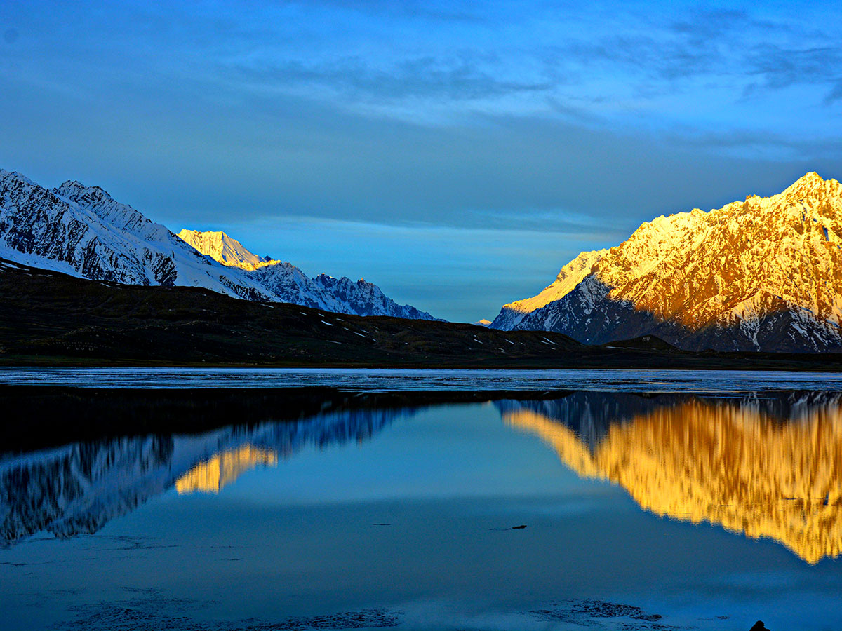 Sunset near Shandur Lake on Chitral Valley Overland Tour in Pakistan