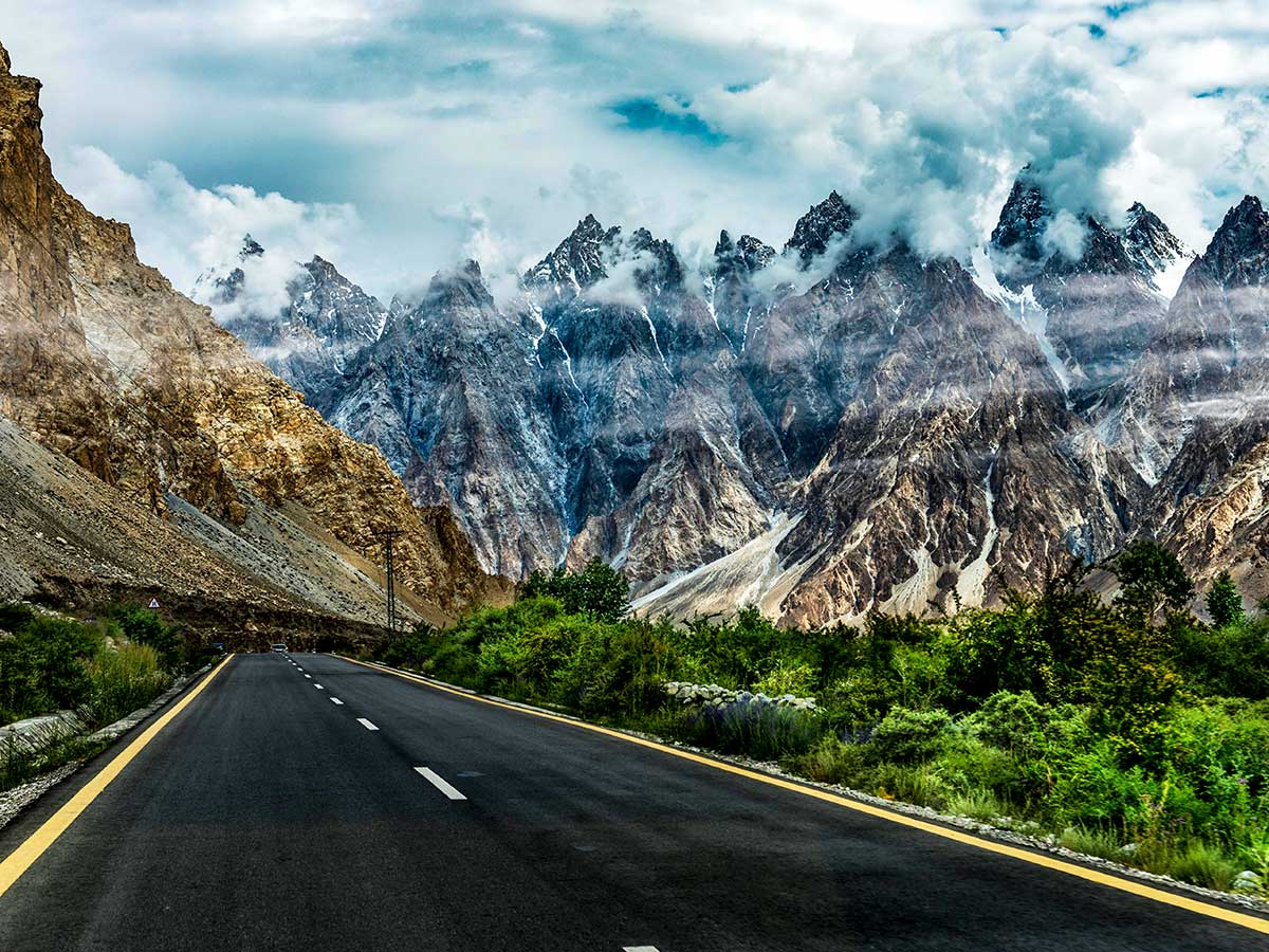 Passu Cones along Karakorum Highway on Hanza Valley Overland Tour in Pakistan