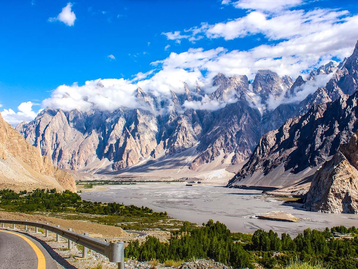 Passu Cathedral as seen from Karakorum Highway on Hanza Valley Overland Tour in Pakistan