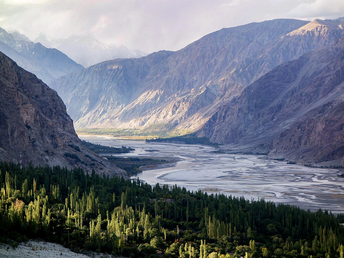 Shyok River and Khaplu Valley on guided Overland Tour in Skardu Valley Pakistan