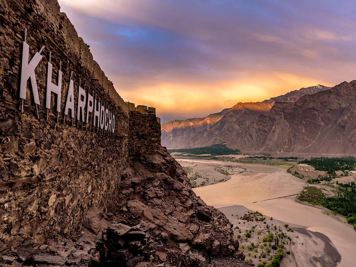 Kharpocho Fort near Indus River on guided Overland Tour in Skardu Valley Pakistan