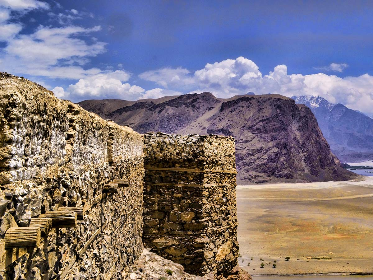 Kharpocho Fort Wall on guided Overland Tour in Skardu Valley Pakistan