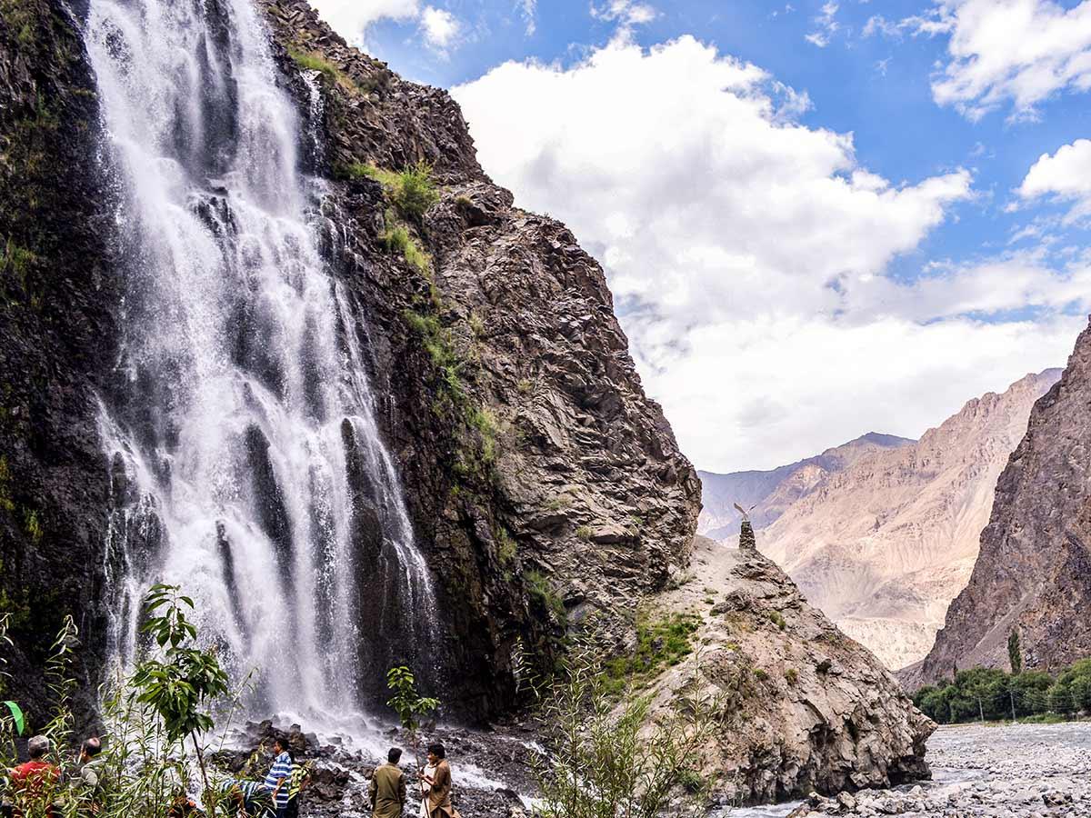 Mhantoka Waterfall near Indus River on guided Overland Tour in Skardu Valley Pakistan