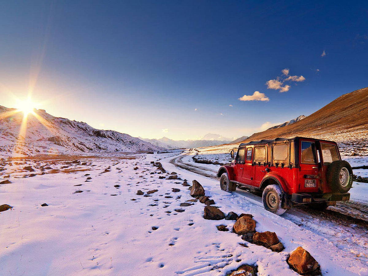Autumn snow and vehicle guided Overland Tour in Skardu Valley Pakistan