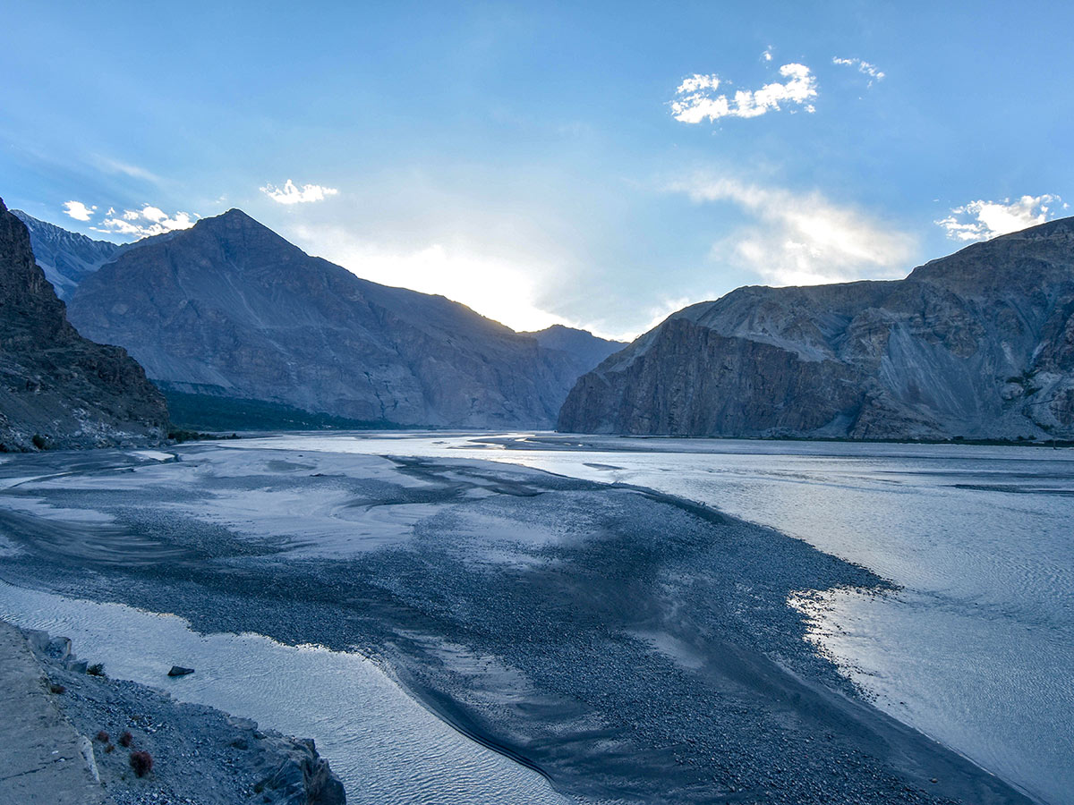 Beautiful Indus River on guided Overland Tour in Skardu Valley Pakistan