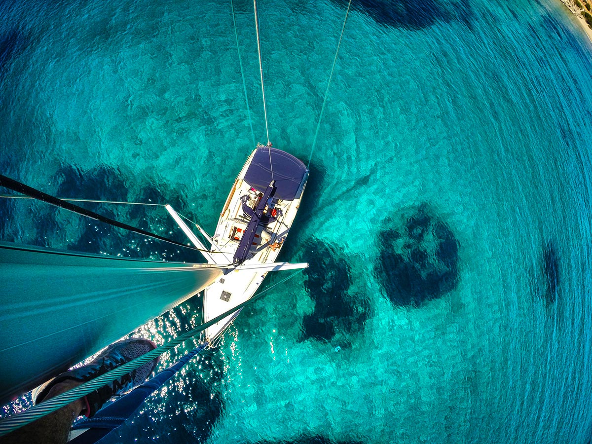 View from the mast on your sailing adventure in the Greek Islands