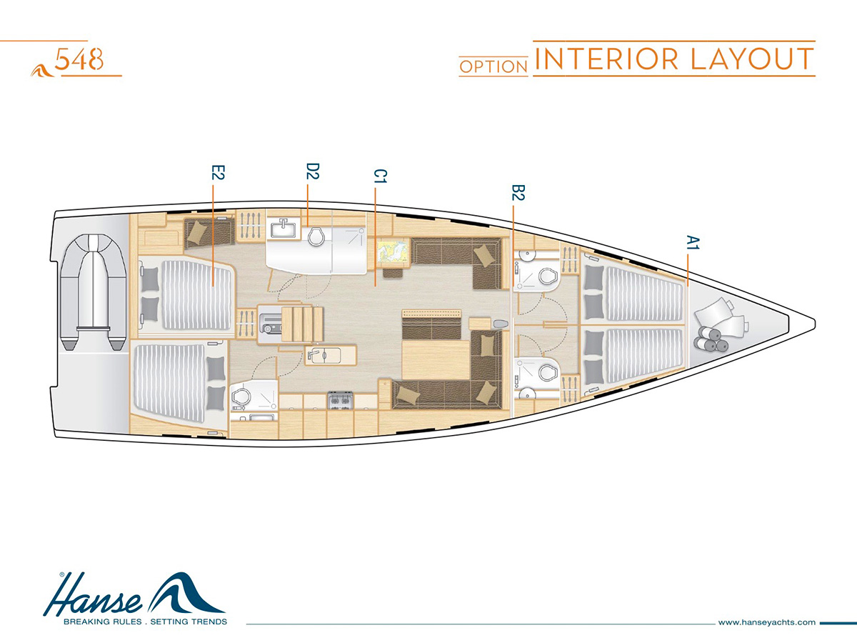 Layout of the Hanse Sailboat
