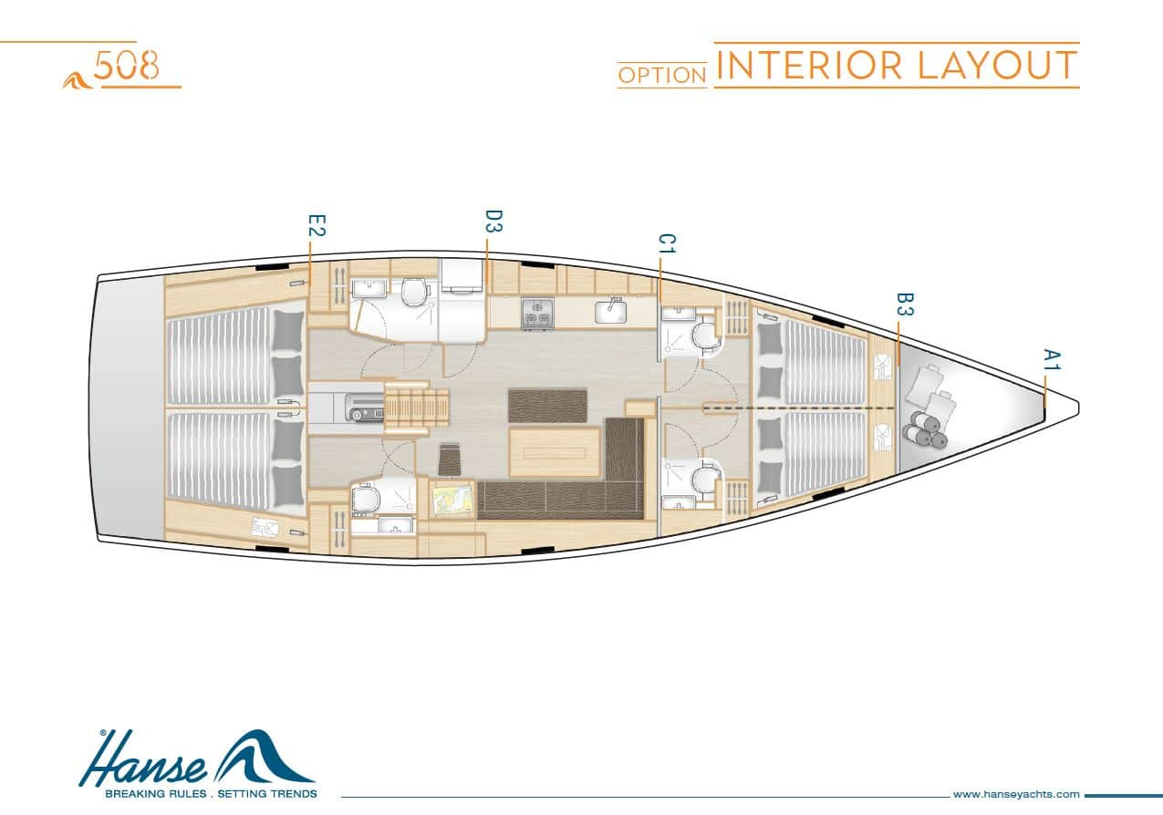 Layout of the Hanse 508 Sailboat