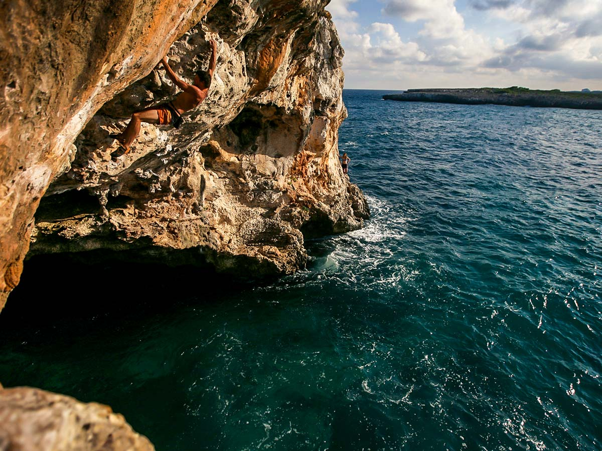 Beautiful rock formations on deep water solo climbing tour in Mallorca, Spain