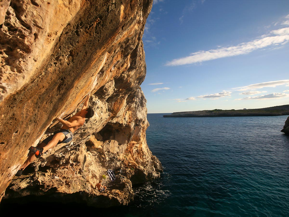 Climber on DWS camp in Mallorca, Spain