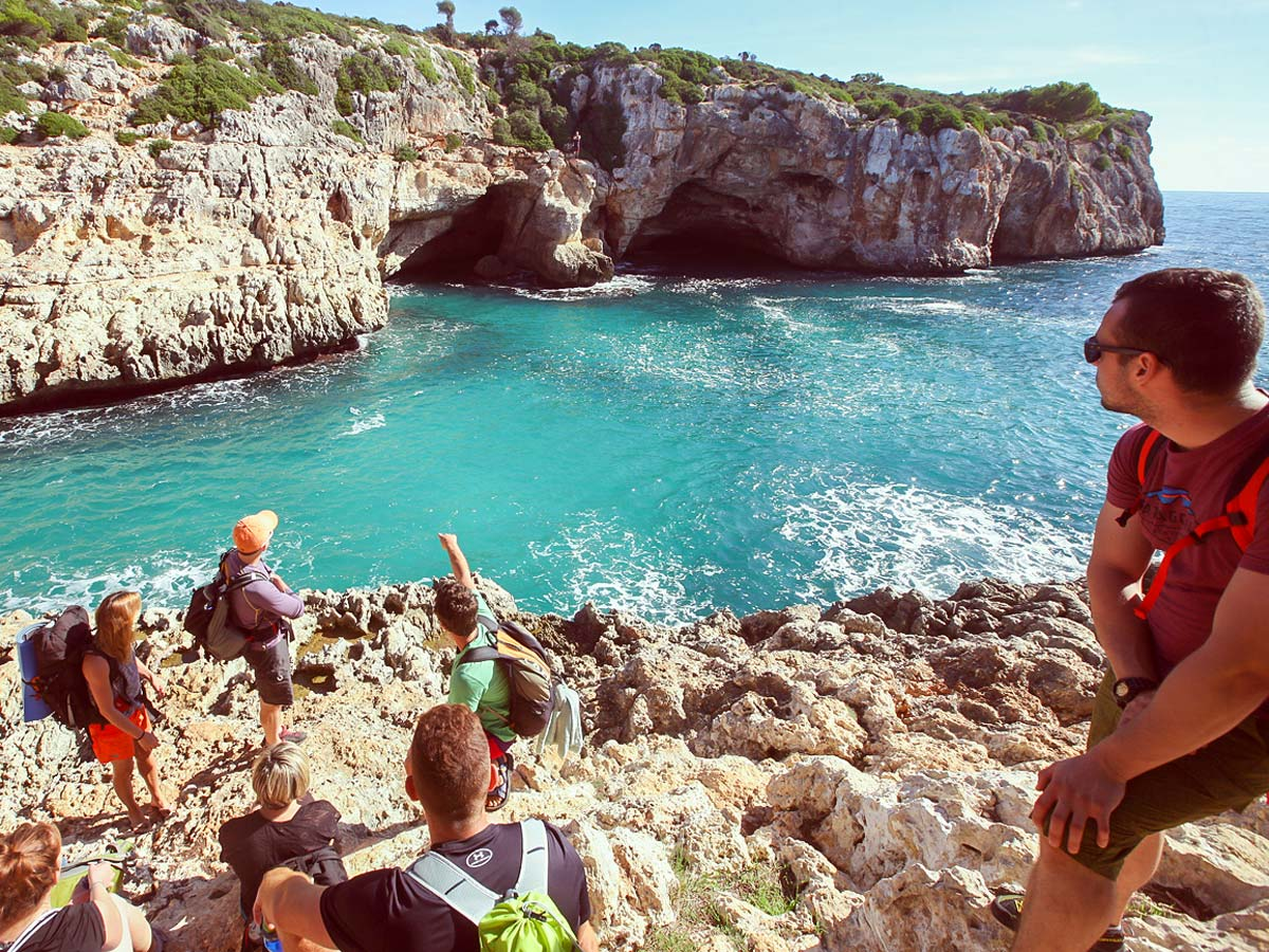 Group of climber before the deep water solo climbing tour in Mallorca, Spain