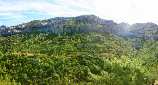 Panoramic scenery on rock climbing camp in Margalef