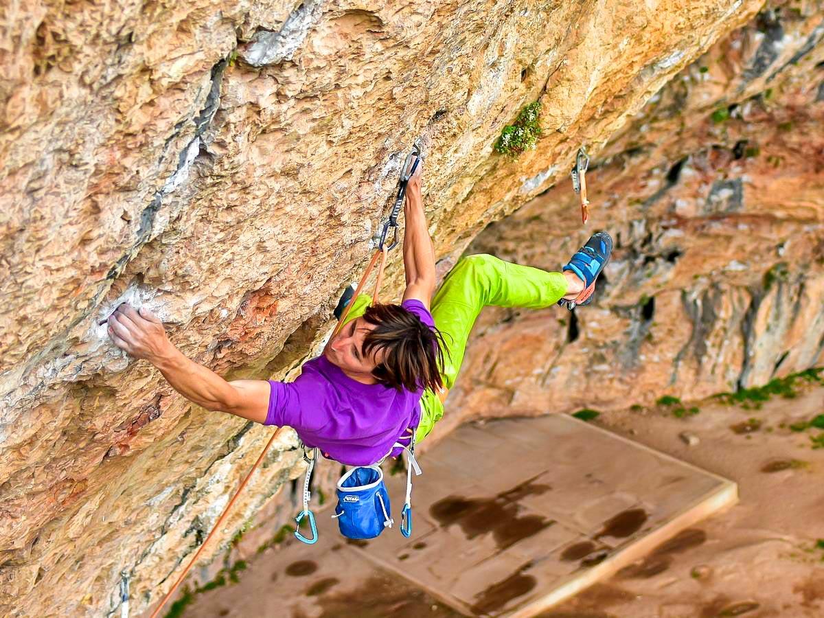 Klemen Bečan on guided rock climbing tour in Rodellar