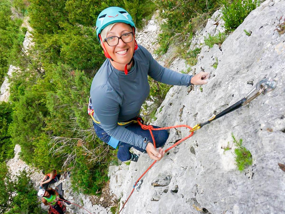Happy climber on Women's climbing camp in Rodellar, Spain