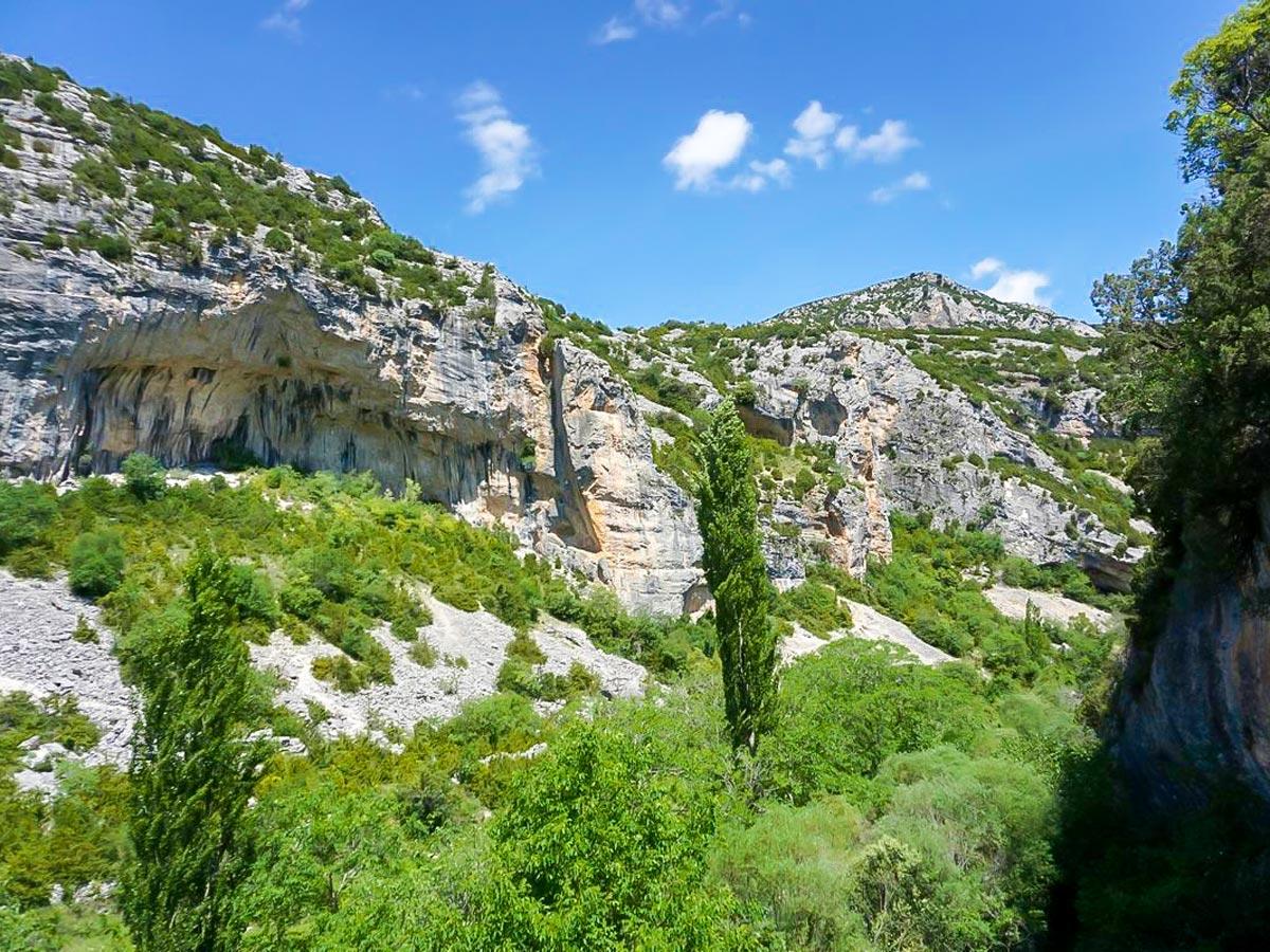 Beautiful climbing crags on Women's climbing camp in Rodellar, Spain