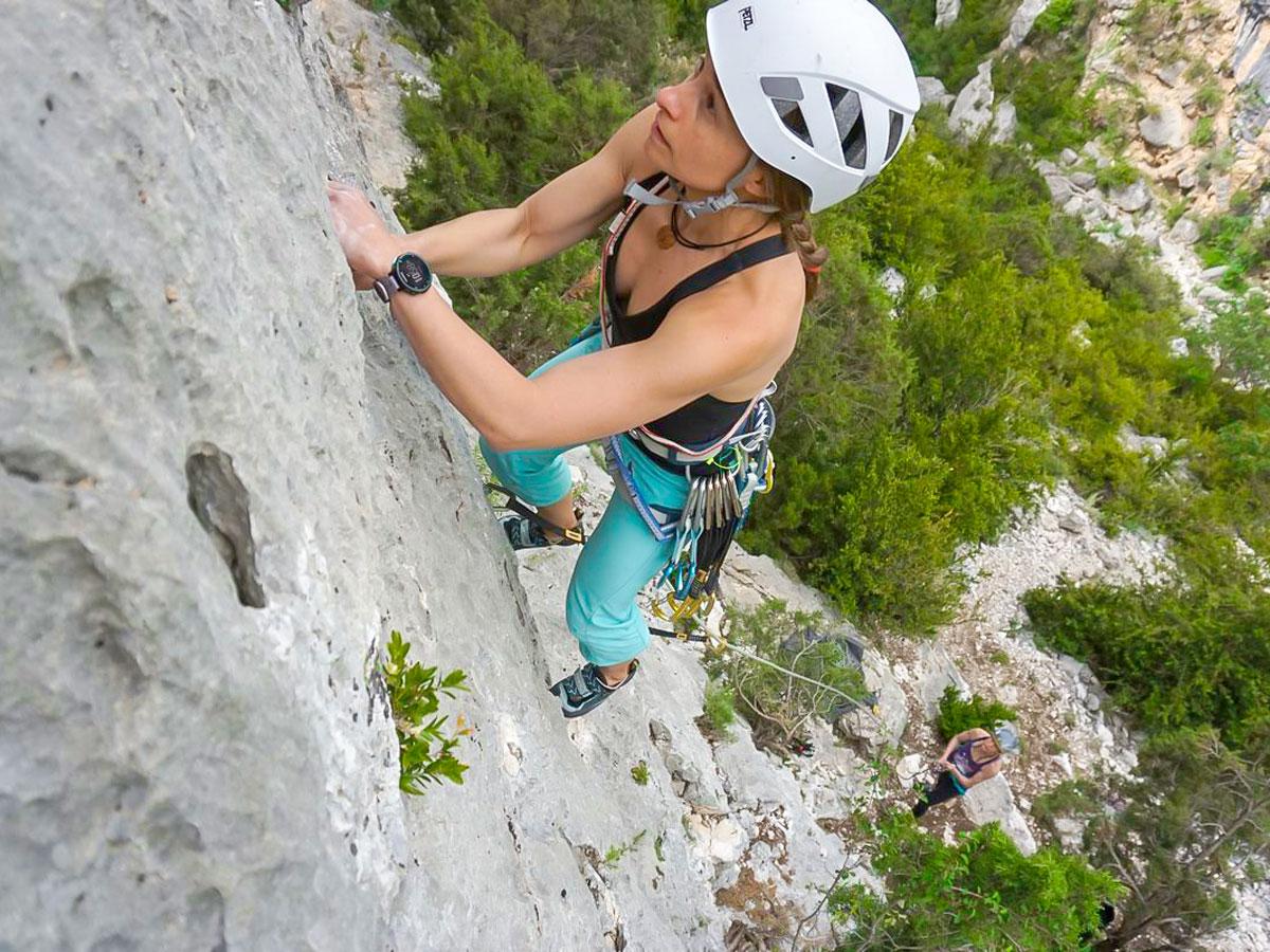 Climber on Women's climbing camp in Rodellar, Spain