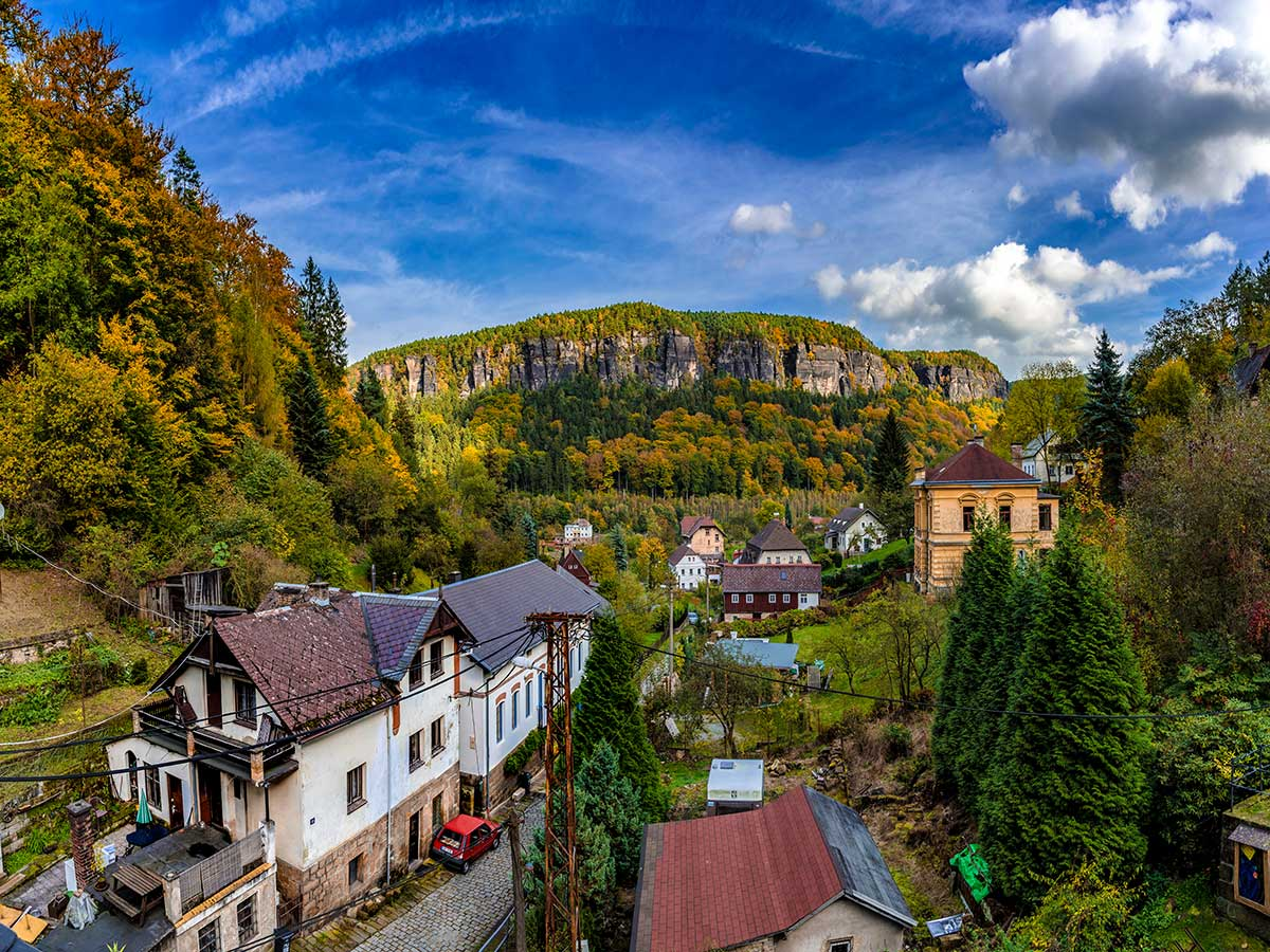 Cute village in Labske Udoli on rock climbing camp