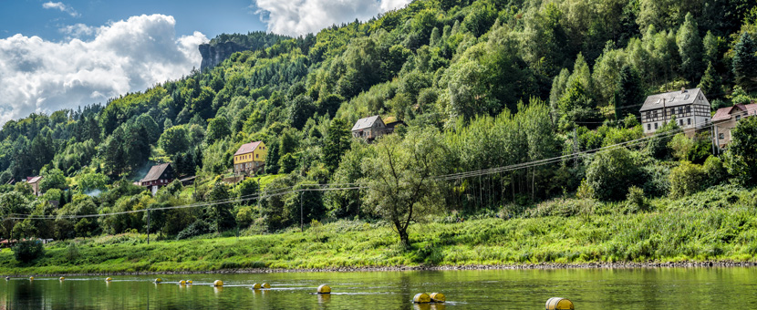 Beautiful views along the river on rock climbing camp in Labske Udoli, Czech Republic