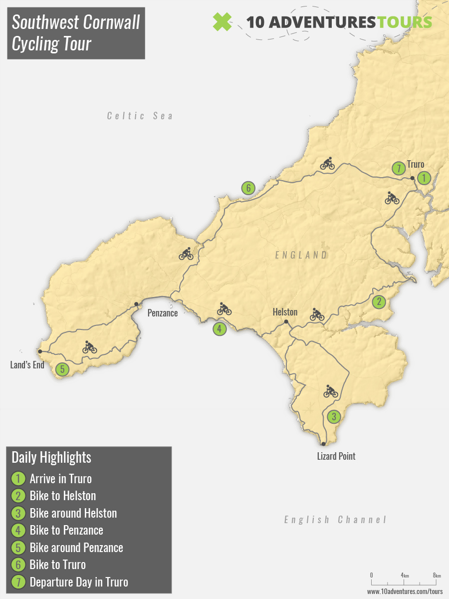 Map of guided Southwest Cornwall Cycling Tour in England