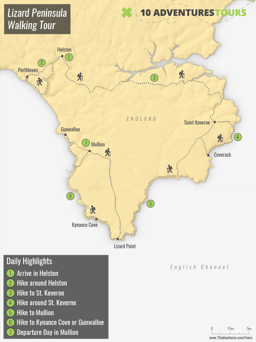Map of self-guided Lizard Peninsula Walking Tour in England, UK