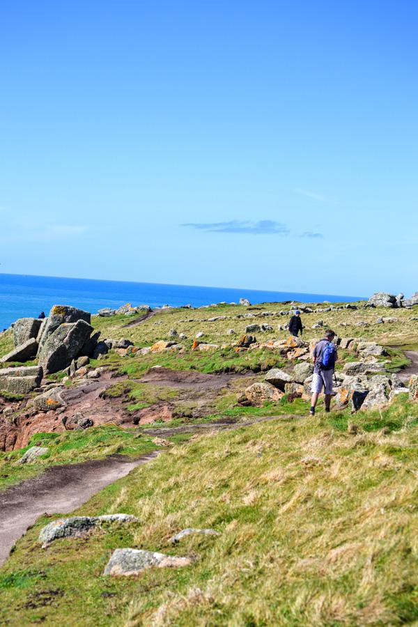 Cornwall walking across cliff tops