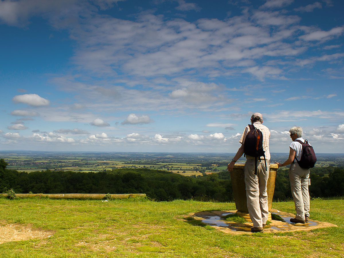 Walkers at viewpoint on Cotswold Way