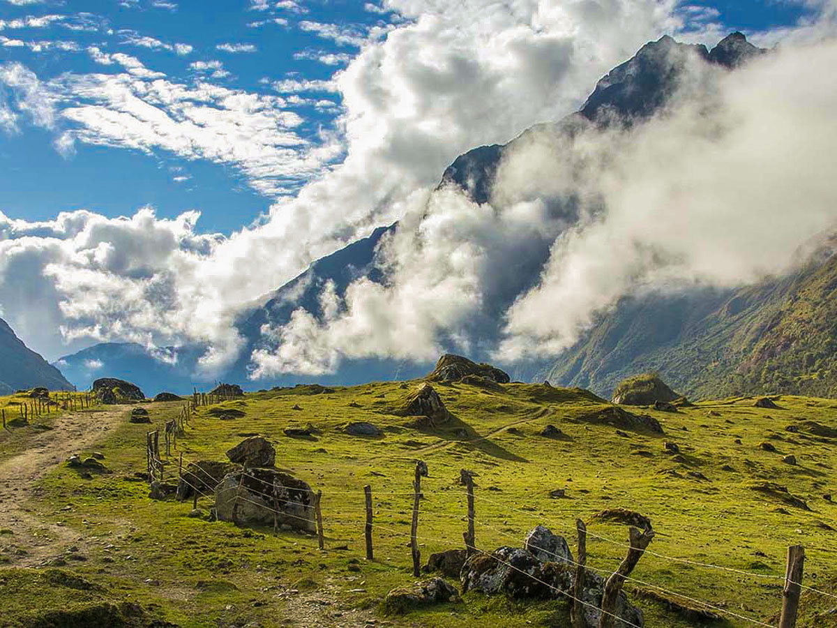 Cloudy day over the valley on Salkantay Trek to Machu Picchu in Peru