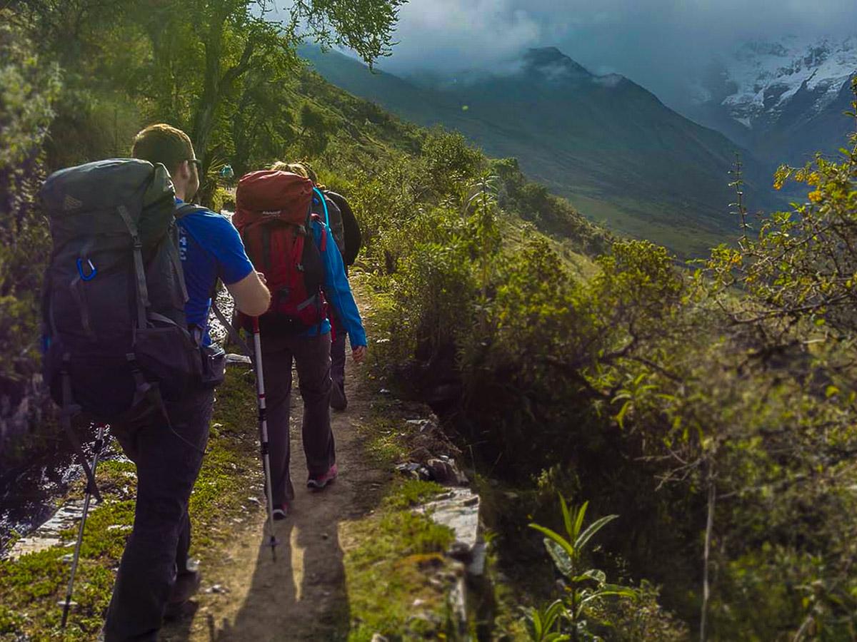 Group of hikers on Salkantay Trek to Machu Picchu in Peru