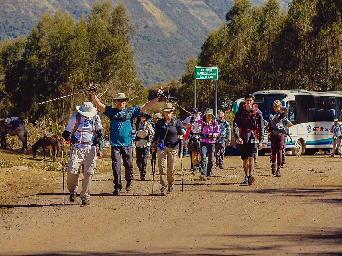 Happy hikers on Salkantay Trek to Machu Picchu in Peru