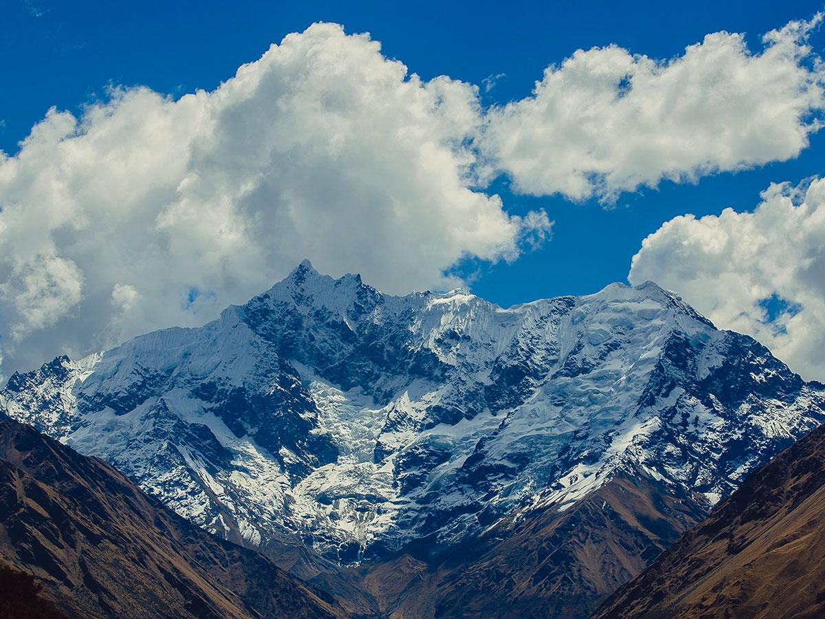 Beautiful peaks along Cusco on Salkantay Trek to Machu Picchu in Peru