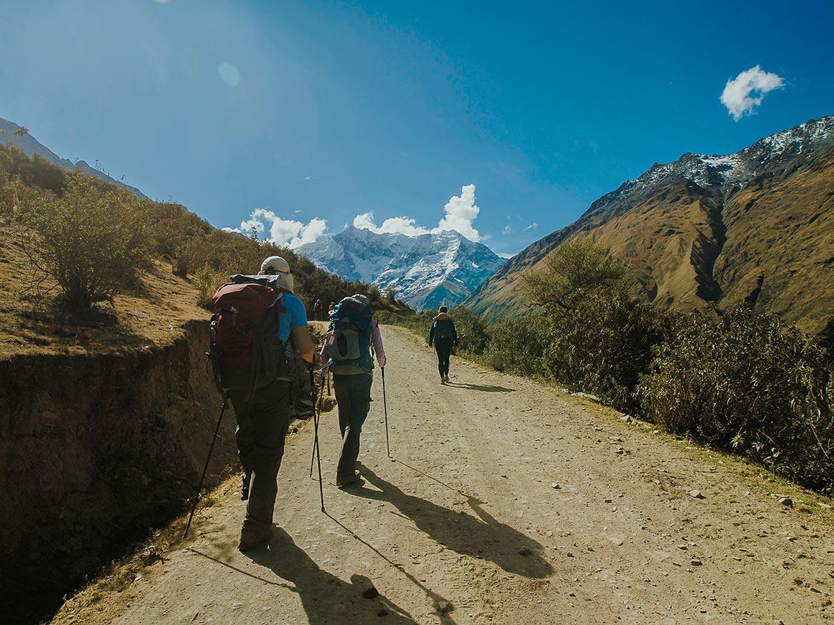 Wide comfortable path on Salkantay Trek to Machu Picchu in Peru