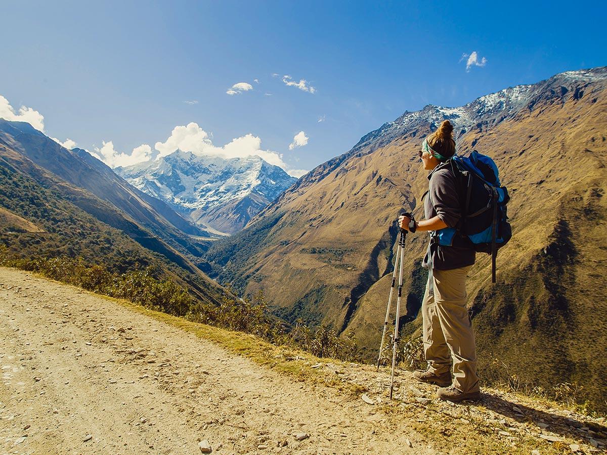 Hiker and beautfiul scenery on Salkantay Trek to Machu Picchu in Peru
