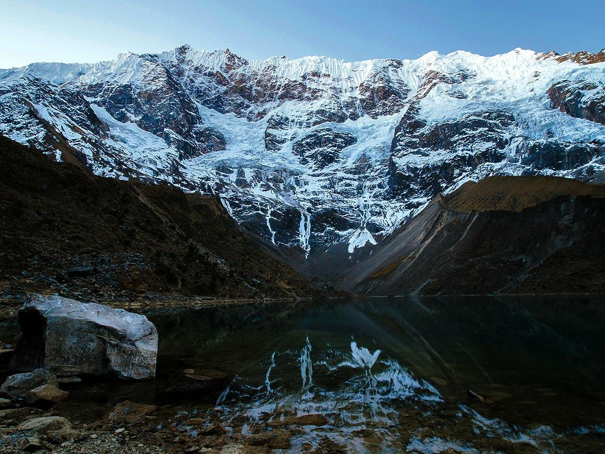 Ice falls mountains and beautiful lake on Salkantay Trek to Machu Picchu in Peru
