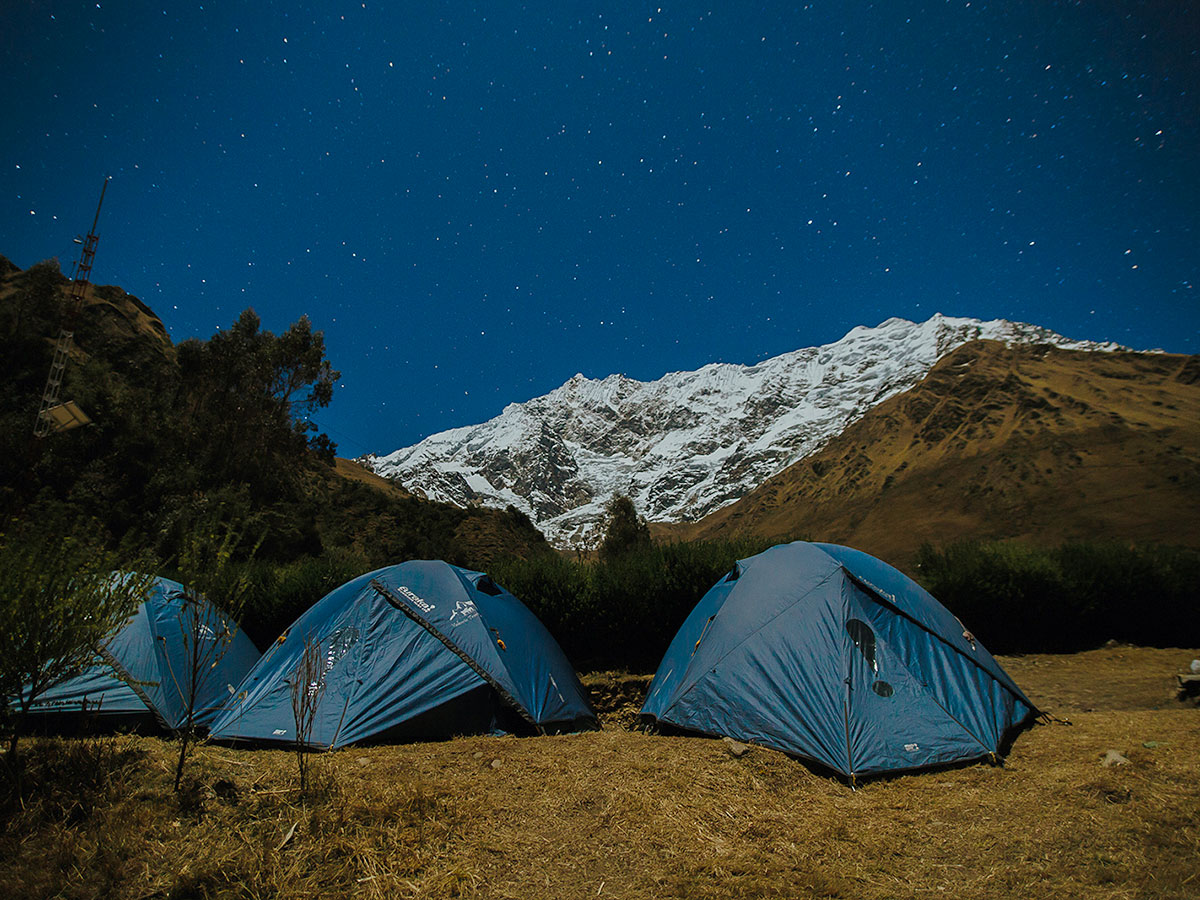 Camping under the starry sky on Salkantay Trek to Machu Picchu in Peru