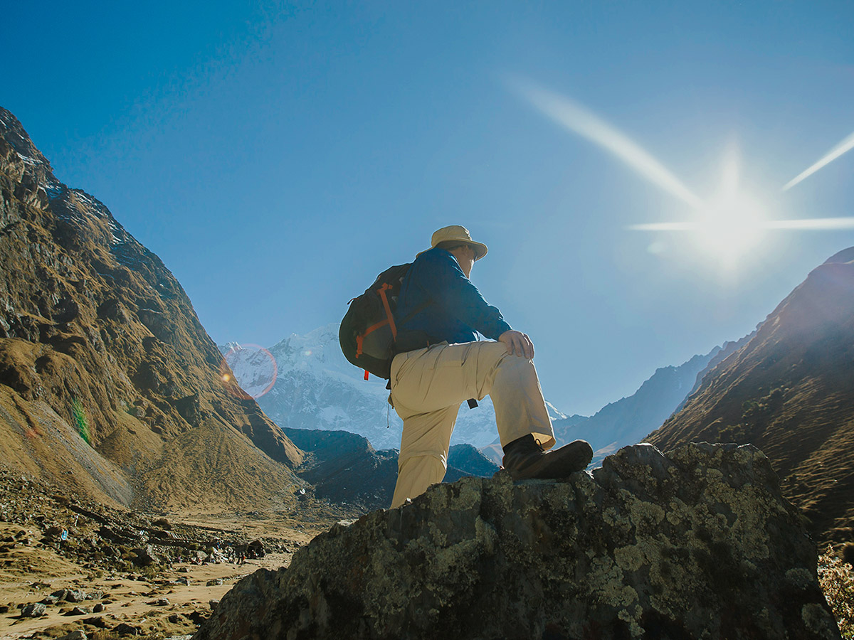 Sunny day on Salkantay Trek to Machu Picchu in Peru