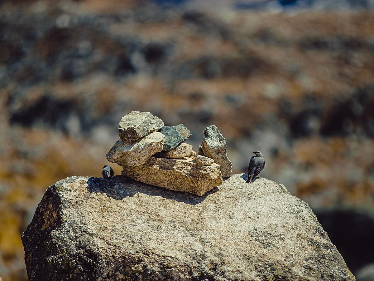 Small cairn along Salkantay Trek to Machu Picchu in Peru