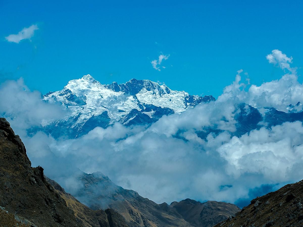 Snowy peaks on Salkantay Trek to Machu Picchu in Peru