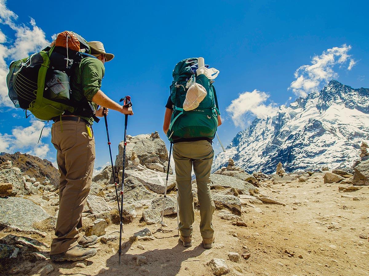 Two backpackers on Salkantay Trek to Machu Picchu in Peru