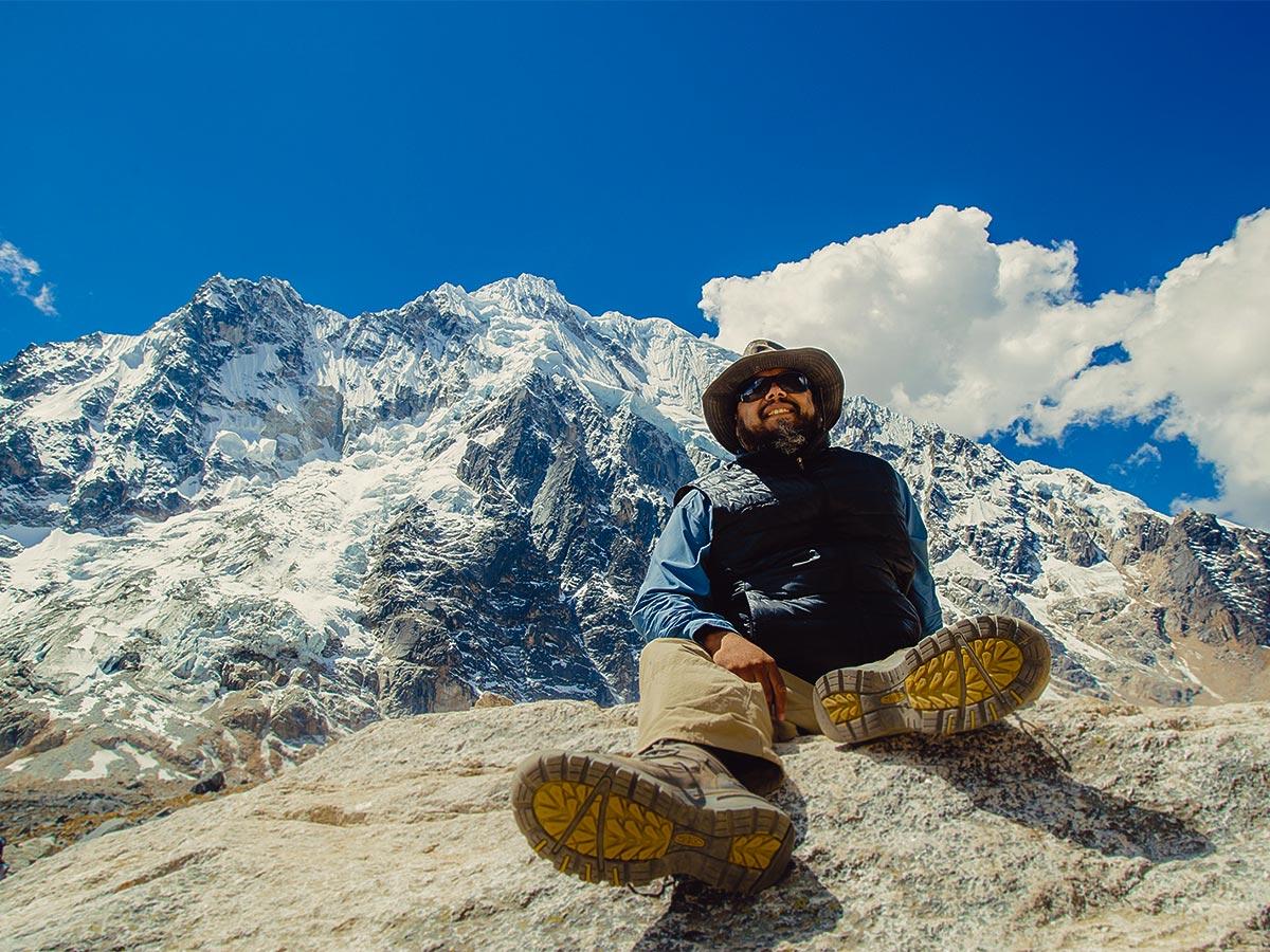 Hiker resting on Salkantay Trek to Machu Picchu in Peru