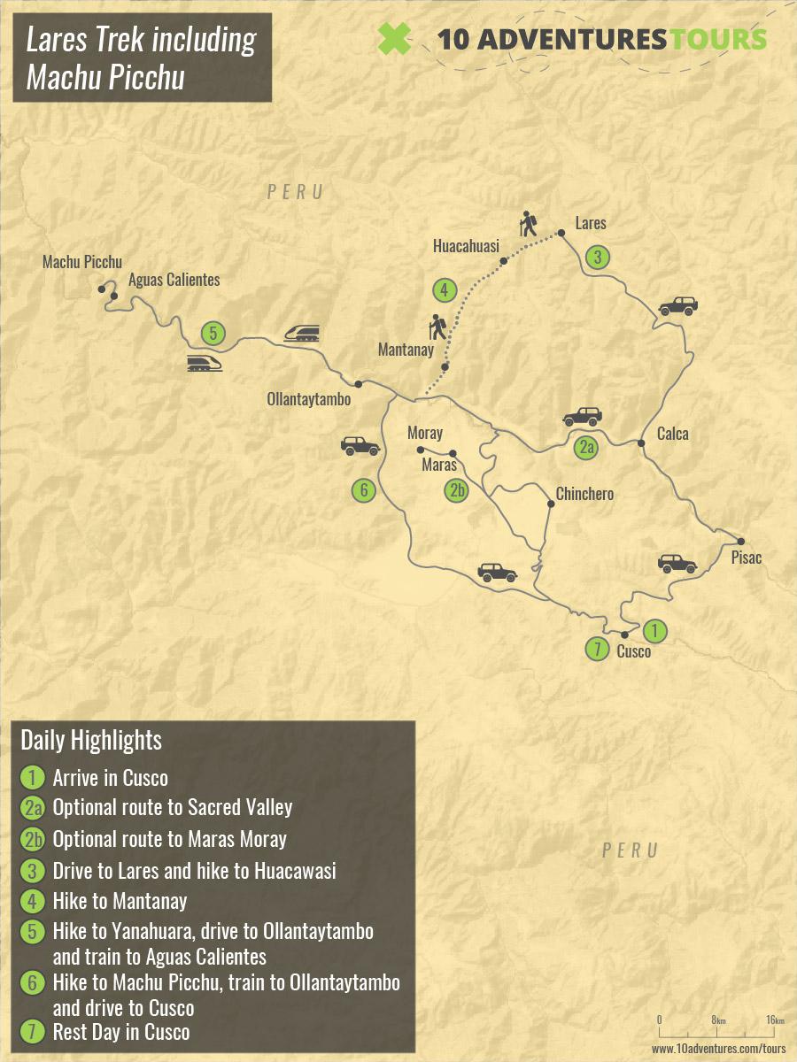 Map of Lares Trek including Machu Picchu in Peru with a guide
